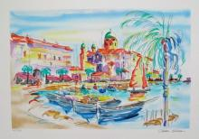 Oliver Zlatku St. Tropez Port Hand Signed Limited Edition Lithograph