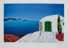 Fenech Paysage Grece Hand Signed Limited Edition Lithograph