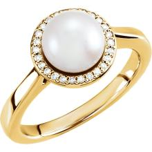14kt Yellow Freshwater Cultured Pearl & .08 CTW Diamond Halo-Styled Ring