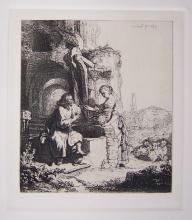 Rembrandt Christ And The Women Of Samaria Plate Signed Etching