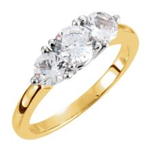 14kt Two-Tone 1 CTW Diamond 3-Stone Anniversary Ring