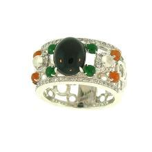 Natural Black Multi-color Jade Ring