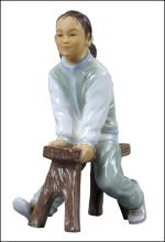 ORIENTAL YOUTH GIRL ON LONG STOOL