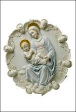 THEOTOKOS AND BABY JESUS SURROUNDED BY WINGED CERUB HEADS - WALL PLAQUE (LIGHT COLOR)