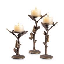 Lodge Collection Bear Pillar Candleholders S/3