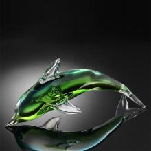 Art Glass Green Dolphin