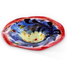 Blue and Red Glass Birdbath