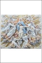 MADONNA HOLDING JESUS WITH ANGELS WALL PLAQUE (LIGHT COLOR)