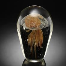 Art Glass Yellow Jellyfish Glow in the Dark