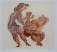Chaim Gross Woman With Child Hand Signed Limited Edition Lithograph