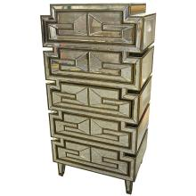 Tall Deco Mirrored Chest