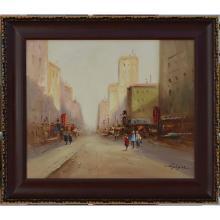 City Street - Framed Oil
