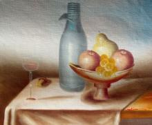 Fruit And Wine Signed Original Oil Painting On Canvas