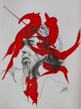 Raymond Moretti Seigneur Rouge Hand Signed Limited Edition Lithograph