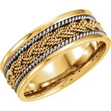 14kt Yellow, White & Rose 8mm Comfort-Fit Hand-Woven Band Size 9mm