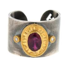 Silver-18KT-24KT Ring Ruby