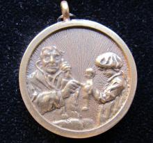 Norman Rockwell The Doctor And The Doll Original Gold Pendant Extremely Rare!