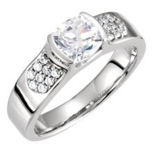 10kt White Cubic Zirconia & 1/5 CTW Diamond Engagement Ring