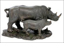 RHINO AND BABY RHINO - Cold Cast Bronze