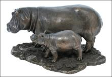 HIPPO AND BABY HIPPO - Cold Cast Bronze