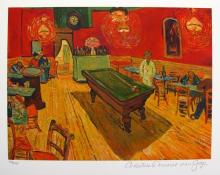Vincent Van Gogh The Night Cafe, Rec. Room Estate Signed Small Giclee
