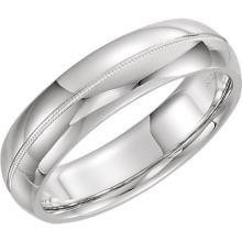 14kt White 6mm Half Round Comfort Fit Milgrain Band Size 5