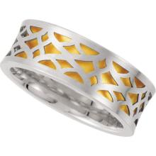 14kt White & Yellow 8mm Comfort-Fit Laser Pierced Band Size 13