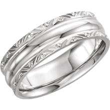 14kt White 6mm Comfort-Fit Band Size 6.5