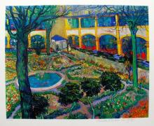 Vincent Van Gogh The Courtyard Of The Hospital At Arles Estate Signed Limited Edition Giclee