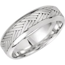 14kt White 7mm Hand Woven Comfort Fit Band