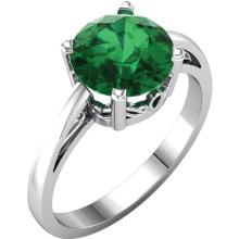 14kt White Chatham® Created Emerald Ring
