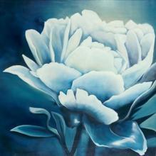 Original-KC Haxton-White Flower on Blue
