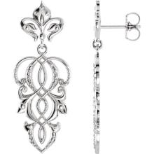 14kt White Decorative Dangle Earrings