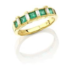 RING...18K YELLOW GOLD 4.29 GRAM 0.2CT DIAMOND SI2-I1 H-I 0.65CT PRINCESS