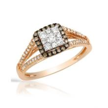 RING...14K ROSE GOLD 5.2 GRAM 0.09CT BROWN DIAMONDS I1 DARK BROWN 0.33CT DIAMOND
