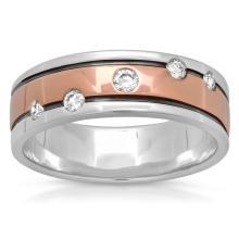 RING...14K WHITE/ROSE GOLD 8.9 GRAM 0.25CT DIAMOND SI2-SI3 H