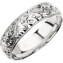 Platinum 6mm Hand Engraved Band Size 10