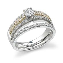 RING...14K WHITE/ROSE GOLD 6.3 GRAM 0.65CT DIAMOND I1-I2 H-I 0.25CT I1-I2 H-I ROUND
