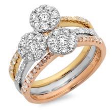 RING...18K THREE TONE GOLD 6.35 GRAM 0.71CT DIAMOND SI1 G-H 0.18CT DIAMOND