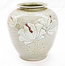 Celadon Vase with Floral motif