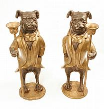 Pair of Bronze Dog Candlesticks