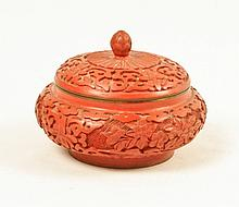 Cinnabar Round Covered Jar with Finial