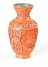 Cinnabar Vase w/blue interior
