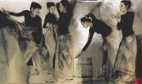 Sunaryo (B. 1943) Jelang Persembahan #1 Acrylic on