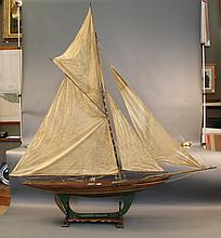 Vintage English Pond Yacht with Skeleton Keel