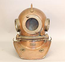 Solid copper and brass diving helmet