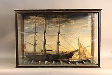 Antique diorama with sailing ship