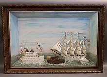 Antique Ship's Shadowbox with Four Vessels