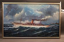Oil on Canvas of a Steam Yacht
