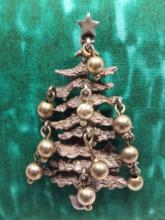 Antique Sterling Silver Christmas Tree Pin